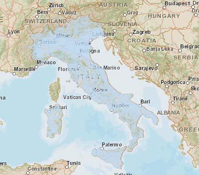Карта покрытия Италии сотовой связью 3G