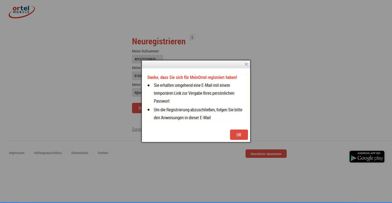 регистрации нового пользователя в личном кабинете Ortel Mobile