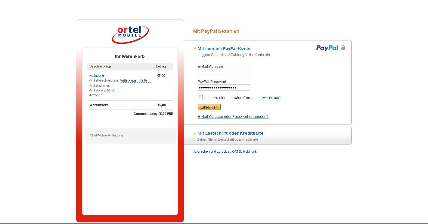 оплата баланса Ortel Mobile через систему PayPal
