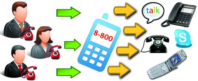 Номер 8 800 - это и бесплатная виртуальная АТС в подарок